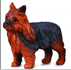 YORKSHIRE TERRIER DOG YORKIE FIGURINE BLACK & BROWN TOY SIZED PET COLLECTA NEW