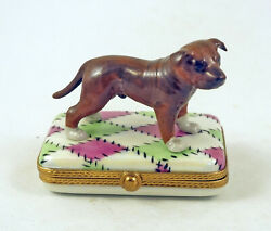 New HandPainted French Limoges Trinket Box Pit Bull Terrier Dog on Quilt