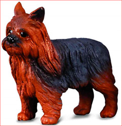 YORKSHIRE TERRIER DOG YORKIE FIGURINE BLACK  BROWN TOY SIZED PET COLLECTA NEW