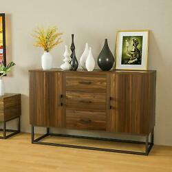 Modern Sideboard Buffet Storage Cabinet w 3 Drawers 2 Doors Console Table Brown