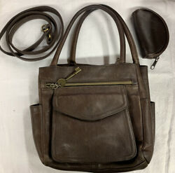 Fossil Brown Genuine Leather Vintage Hand Bag Cross Bag Purse $27.75