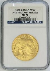 2007 Gold Usa Buffalo 50 1 Oz Coin Ngc Mint State 70 Early Releases