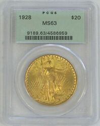 1928 Gold 20 St Gaudens Double Eagle Green Label Pcgs Mint State 63