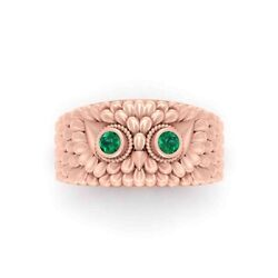 Symbol Of Foresight Owl Band Rose Gold Fn 925 Sterling Silver Green Cz Owl Ring