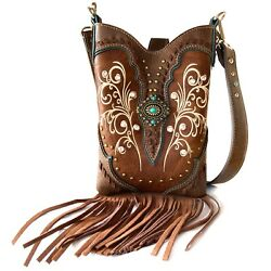 Women Cowgirl Western Country Floral Fringe Cross Body Messenger Purse Victoria $33.99