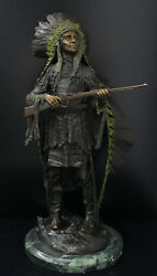 Carl Kauba Bronze War Indian With Rifle Bronze And Colored Statue 24 Tall