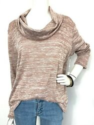 NWT Nordstrom Caslon Sweater Cowl Neck Tunic Top Lightweight Marbled Tan L amp; XL $19.95