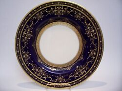Minton Raised Gold Encrusted Cobalt Birks Dinner Plate 10 5/8 Inches As Is