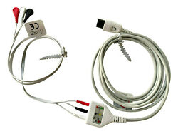 3 Lead Ekg Trunk Cable 6 Pin With Disposable Ecg Din Leadwires Aha Warranty 12ft