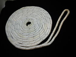 1/2 X 25and039 White Double Braid Nylon Dock Line Grey Tracer Is Reflective 12 Loop