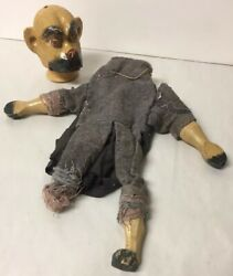 Antique Carved Painted Wooden Hand Puppet Doll Dog Man From Punch And Judy