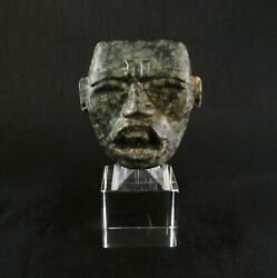 Pre-columbian Teotihuacan Carved Stone Small Jade Mask Very Rare Piece
