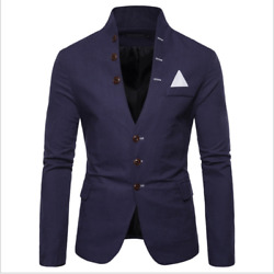 New Style Multi-button Decoration Menand039s Casual Stand-up Collar Suit Jacket