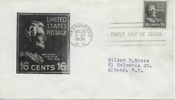 821  16c Abraham Lincoln  Unk. Printed Enlargement Of Stamp In Black On Fdc