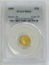 1855 Gold United States Princess Head 1 Dollar Coin Pcgs Mint State 63