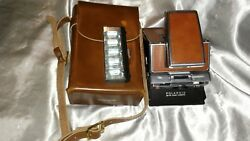Vintage 1973 Polaroid Land Camera Sx-70 With Leather Case And Flash Bulb