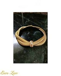 Vintage Givenchy 1980's Signed Gold Plated Crystal Strass Snake Choker Necklace