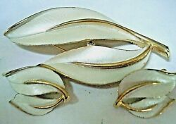 Vintage Sarah Coventry Gold Tone And White Enamel Leaf Brooch Pin And Earring Set