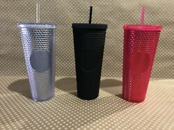 Starbucks Limited Edition Studded Tumblers Neon Pink, Silver, Matte Black 3