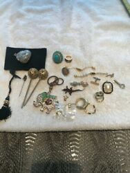 Vintage Lot Costume Jewelry Hair Pins Magnetic Crystal Coin Purse Pendant