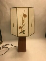 Table Lamp Wood Base Parchment Paper Shade Works Hand Decorated Table 24 Inch