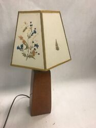 Table Lamp Wood Base Parchment Paper Shade Works Hand Decorated Table Bedroom
