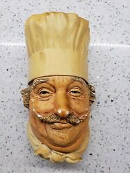 Vintage Bosson Chalkware Figural Heads Chef 1969 Wall Hanging