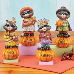 Set Of 4 Raccoon Pilgrims And Indians Blessings Thanksgiving Sitter Figurines