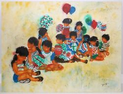 Silk Painting By John Yato Children With Balloons 80and039s - 90and039s Original Painting