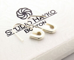 Sterling Silver Safety Pin Earrings Pair 3/4and039and039long Handmade In Usa