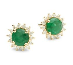 New Emerald 14k Gold And Diamond Earrings By Effy/ Retail 2225