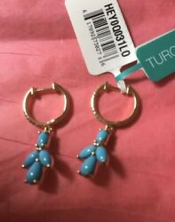 New Effy Turquoise, Diamond And 14k Gold Drop Earrings/ Retail 2,350