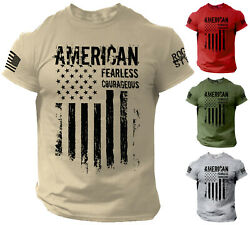 American T Shirt Fearless Courageous Distressed Flag Military Style Shirt $12.90