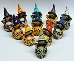 Harmony Kingdom Artst Neil Eyre Halloween Haunted Tree Frog Frogs Witch Hat Le25