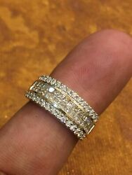 Pave 0.99 Tcw Round Princess Cut Natural Diamonds Four-row Band Ring In 14k Gold