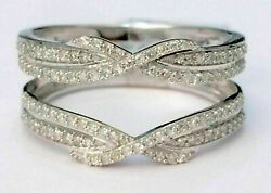 2 Ct Round Cut Diamond Solitaire Enhancer Guard Ring Wrap 14k White Gold Finish