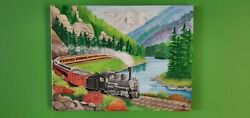 Painting On Canvas Train In Colorado Mountains