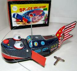Sparky Robot Space Wind Up Tin Toy Silver Rare Space Whale Ship Pioneer Px-3