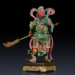 22'' Pure Bronze Mineral Pigment Home Fengshui Buddha Dragon Guan Gong Statue