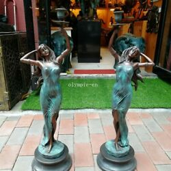 Pair 28and039and039 Bronze Sculpture Home Decorate Two Belle Women Lady Girl Candlestick