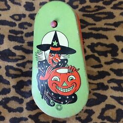 Vintage Tin Lithograph Halloween Noisemaker With Wood Handle T. Cohn
