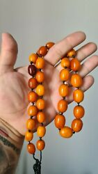 Egg Yolk Exellent Antique Amber Beads Rosary Baltic Amber Necklace 60 Gr 老琥珀