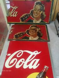 Lot Of 3 Vintage Coca Cola Masonite Signs Sections 1940s Girl W/ Bottle