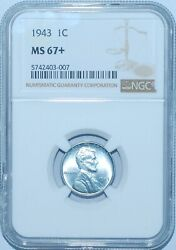 1943 Ngc Ms67+ Lincoln Wheat Cent
