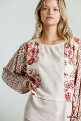 Umgee Floral Print Waffle Knit Puff Sleeve Top Size S