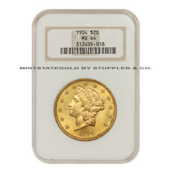 1904 20 Gold Liberty Ngc Ms64 Choice Graded Gold Double Eagle Philadelphia Coin