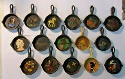 Vintage Hand Painted Mini Cast Iron Skillet Ashtrays - Lot Of 16 Various Reduced