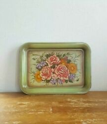 6 Vintage Mid Century Serving Tray Tin Metal Green Roses Flowers Floral Tv Lap