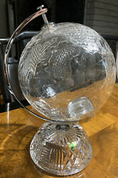 """Gorgeous Retired Htf """" Waterford """" Crystal 11.5"""" Small World Globe Centerpiece"""