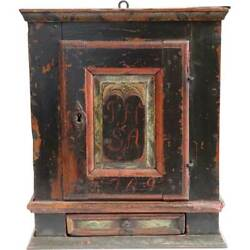 Small Antique Small Danish Painted Pine Hanging Wedding Cupboard 18th Century